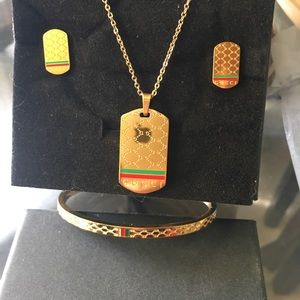 Gold stainless steel jewelry set
